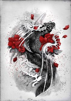 Black Koi Art Print for sale on http://Society6.com for less than 30$ Also available as: canvas, tshirts, mugs, clocks, pillows, iPhone & iPadcases and others. If you want to buy it just click on the image, you will be redirected to the artist's store.