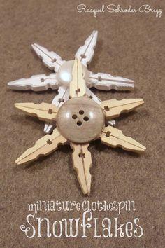 DIY Miniature Clothespin Snowflakes | Mama of 3 Munchkins