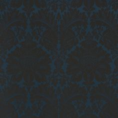Maggiore Damasco | 71280 in Midnight | Schumacher Fabrics |  This high contrast pattern has all the hallmarks of a classic Italian Damask. In dazzling colorways, it's the epitome of La Dolce Vita.