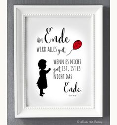 """Lovingly designed art print in ** DIN format ** with motif girl and red balloon and statement / quote by Oscar Wilde ♥ ** """"In the end, everything will be fine – if it is not good, it is not the … Source by kaejdie Banksy Artwork, Banksy Graffiti, Oscar Wilde, Banksy Stencil, Its A Girl Balloons, Its A Mans World, Red Balloon, Artist At Work, Hand Lettering"""