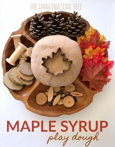 Maple Syrup Play Dough Recipe - The Imagination Tree Natural Maple Syrup Play Dough Recipe- smells awesome! Playdough Activities, Montessori Activities, Teaching Activities, Teaching Ideas, Autumn Activities, Activities For Kids, Crafts For Kids, Slime Recipe, Dough Recipe