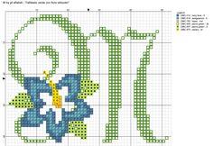 alfabeto verde con fiore stilizzato M