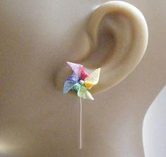 Pinwheel Windmill Miniature Earrings - Miniature Food Jewelry, Handmade Jewelry Earrings