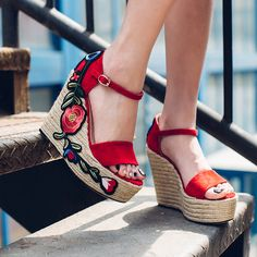 c1a8aaf884be Women s Genuine Suede Leather Applique Embroidery Flower Wedge Platform  Ankle Strap Sandals Brand Designer Heeled Summer