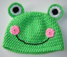 Cute Green FROG Crochet Beanie Hat TODDLER SIZE