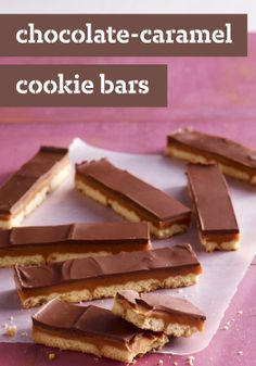 Chocolate-Caramel Cookie Bars – Shortbread cookies are layered with caramel and chocolate and then cut into bars in this homemade version of a crunchy candy bar.