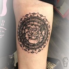 rose mandala tattoo © Lukey G - tattoo artist   London