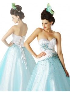 Sweetheart Brush Train Taffeta A Line Blue Prom Dress USD $196.49