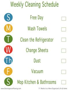 Week 11: Create a Weekly Cleaning Schedule (Includes a blank free printable weekly cleaning checklist.) - Blessings Overflowing