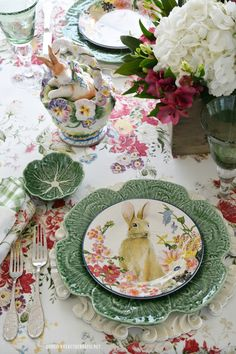Bunnies and Blossoms Spring Tablescape | ©homeiswheretheboatis.net #Spring #bunny #tablesetting