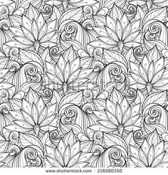 Seamless Monochrome Floral Pattern (Vector). Hand Drawn Texture with Flowers