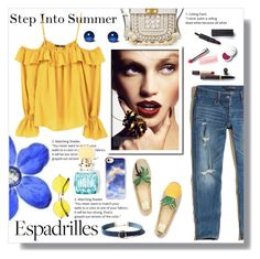 """""""Step into Summer: Espadrilles"""" by nadia-gadelmawla ❤ liked on Polyvore featuring B. Ella, Tory Burch, Hollister Co., Sinclair, Miu Miu, Christian Dior, WithChic, Casetify and MANGO"""