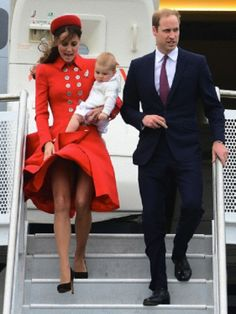 The Duke and Duchess of Cambridge and Prince George arrive at the Military Terminal at Wellington Airport as they begin their tour of New Zealand and Australia in Wellington, New Zealand, on the 7th April 2014.