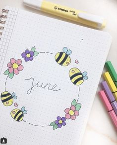 40 More Stunning bee and honey bullet journal spreads Bullet Journal Month, Bullet Journal Banner, Bullet Journal Notebook, Bullet Journal School, Bullet Journal Inspo, Bullet Journal Spread, Bullet Journal Ideas Pages, Book Journal, Bullet Journal Lettering Ideas