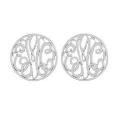 Classic Bordered Monogram Stud Earrings