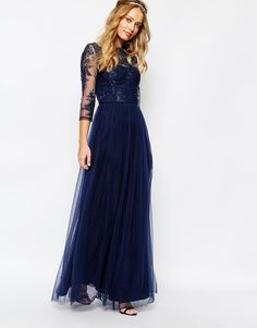 Chi Chi London Bardot Neck maxi Dress with Premium Lace and Tulle Skirt, bridesmaids, navy tulle, long, etherial, gypsy, boho, bohemian, hippie