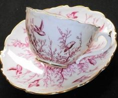 Coalport PINK WINE BIRDS  Tea cup and saucer Teacup by Julia K Cartell