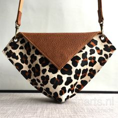 Leather crossbody bag / belt bag  DIAMOND in leopard print cowhair and cognac brown leather.