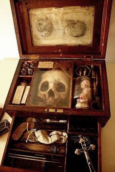 Transform old thrift store jewelry box into Victorian style oddities kit!