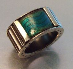 CORRUGATED RING - AQUA Wave Contemporary Enamel Etched Copper, Industrial Ring For Woman, Gift for Her, Oxidized Ripple, Statement Ring by MelodyArmstrong on Etsy https://www.etsy.com/listing/490533205/corrugated-ring-aqua-wave-contemporary