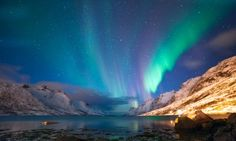 Shop The Polar Lights in Norway Wallpaper in Nature & Landscapes Theme Tromso, Northern Lights Norway, See The Northern Lights, Lappland, Norway Wallpaper, Scenic Wallpaper, Cruise Reviews, Destination Voyage, Beautiful Places In The World