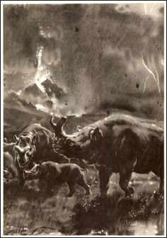 Brontotherium | Zdeněk Burian (1905-1981) | Prehistoric Animals (1960) | A nice touch, having the lightning in the background!