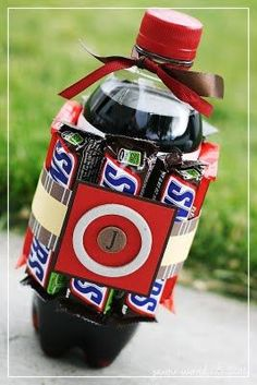 soda with candy bars wrapped around, perfect for the teenage boy!!