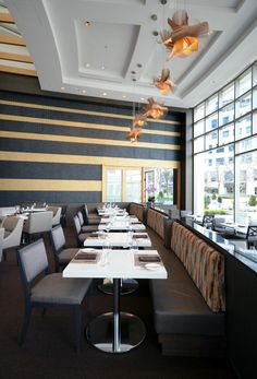 MiniMikado by Miguel Herranz @ Arc Restaurant, Vancouver LZF LAMPS, Wood touched by Light #WoodLighting #MiniMikado #AmbientLighting #AestheticLighting #Lighting #SuspensionLighting