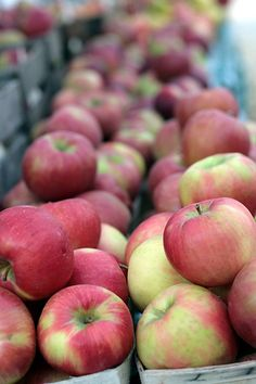 There is no better smell than the rows of fresh apples at the grocery store