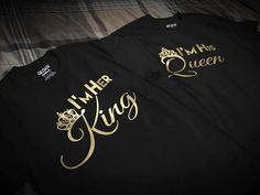 Couples King and Queen Shirts for Relationship / Engagement - Gold Edition by TheMeekApparel on Etsy Cute Couple Shirts, Matching Couple Shirts, Family Shirts, Matching Outfits, King Queen Shirts, King Shirt, Couple Outfits, Family Outfits, Tees Graphiques