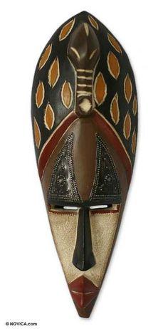 Nigerian wood mask, 'Twin Spirit' by NOVICA