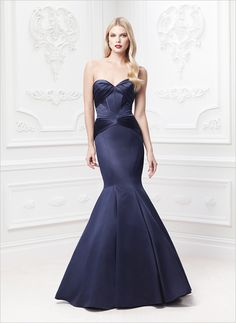 Truly Zac Posen for David's Bridal - Long Strapless Satin Fit and Flare Dress, Style - Strapless sweetheart dress with fit and flare skirt. Available in Sangria and Marine (shown). Fit And Flare Skirt, Flare Dress, Dress Up, Zac Posen Wedding Gowns, Bridal Gowns, Bridesmaid Dresses, Prom Dresses, Wedding Dresses, Bridesmaids