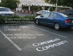 """The Values Project is a public art project that stimulates dialogue and thought by stenciling basic human values, like """"Integrity"""", """"Tolerance"""" and """"Community"""" in an unexpected place: in front of parking spaces in parking lots. For the project in Napa, 500+ words were panted in over 60 parking lots at 32 different businesses and agencies."""