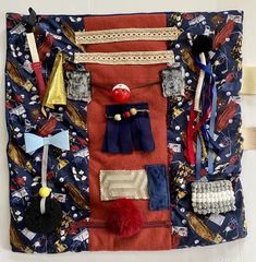"""Excited to share this item from my #etsy shop: GOLFING GRANDPA, 23""""x23"""", Fidget Blanket for Alzheimer's, Fidget Touch Quilt by Restless Remedy Saving Coins, Fidget Blankets, Fidget Quilt, Dementia Care, Carbon Offset, Custom Quilts, Alzheimers, Etsy App, Sell On Etsy"""