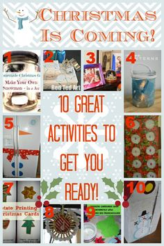 Christmas is coming!  Here are 10 great activities to get you ready for the holidays with kids!