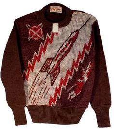 30s Rocketship Buck Rogers Sweater red white space