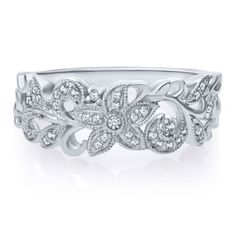 1/7 ct. tw. Diamond Flower Scroll Ring in 10K Gold