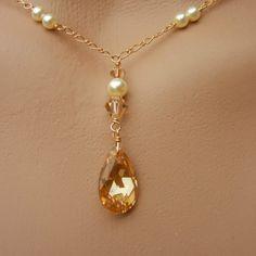 Bridal Lariat Necklace with Swarovski Cream Pearls, Swarovski Cryst......