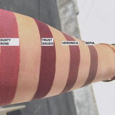 """All The New Beauty Products Releasing in July You Need to Know About - Anastasia Beverly Hills Liquid Lipsticks. Swatches: (""""Veronica"""", """"Trust Issues"""", """"Sorbet"""", """"Dusty Rose"""", """"Sepia"""", """"Sarafine"""")"""