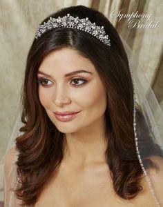 Silver Filgree Wedding Tiara Symphony Bridal 7702CR  - Affordable Elegance Bridal -