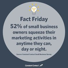 Owning a small business is not always a 9-5 job. Time is precious, and small business owners use it wisely. In fact, 52% of small business owners we surveyed squeeze in their marketing activities when they can, day or night.