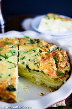 Crustless Cheesy Potato & Spinach Quiche