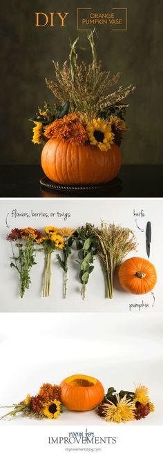 Thanksgiving Day Make Your Own Decoration - Pumpkin Vase . - Thanksgiving Day Make your own decoration – pumpkin vase # own - Thanksgiving Diy, Diy Thanksgiving Centerpieces, Thanksgiving Flowers, Thanksgiving Cornucopia, Decorating For Thanksgiving, Holiday Decorations Thanksgiving, Fall Centerpiece Ideas, Autumn Party Decorations, Halloween Table Centerpieces