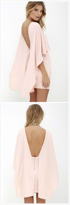 Pink drape back dress