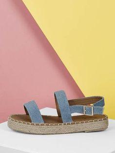 73e680e221a Double Denim Band Jute Wrapped Platform Sandals