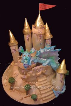 I want this one for myself bc of the dragon. Beautiful Cakes, Amazing Cakes, Princess Theme Cake, Animal Themed Food, My Dream Cake, Cute Cakes, Yummy Cakes, Cupcake Cakes, Kid Cakes