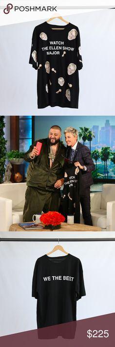 "Custom Black Ellen T-Shirt Custom black T-shirt given to DJ Khaled by Ellen Degeneres on The Ellen Show. ""We The Best"" graphic on back. Shirt fits like a 3XL. Custom Shirts Tees - Short Sleeve"
