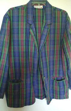 Vintage madras cotton plaid, Capezio jacket XL pockets. #Capezio #BasicJacket