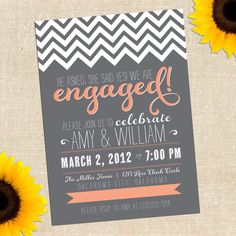 Chalkboard Engagement Party Invitation by YellowBrickGraphics