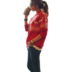 Womens Christmas Reindeer Snowflake Pullover Knitted Sweater Jumper:Amazon:Clothing